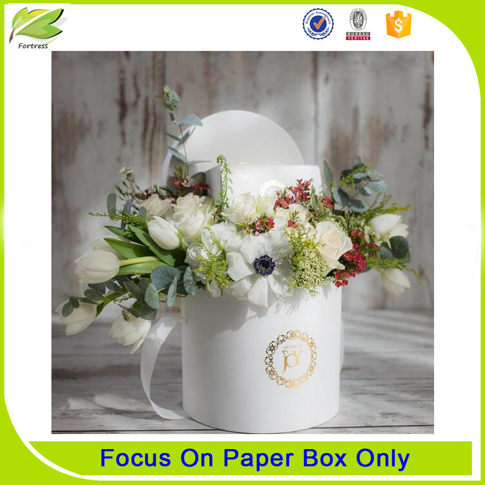 high end round hat box gift packaging for flower
