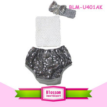 Girl shorts New boutique wholesale bloomer shiny print panties spandex fabric sparkle baby sequin petti bloomers wrap 3 pcs set