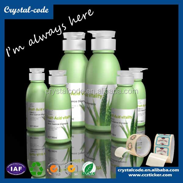 Private packing liquid soap transparent vinyl detergent bottles adhesive roll sticker labels