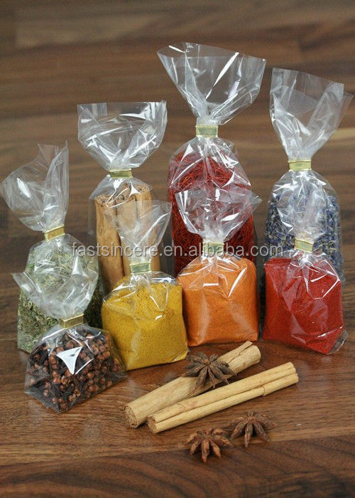 Plastic Transparent Square Bottom Spice Packaging Bag