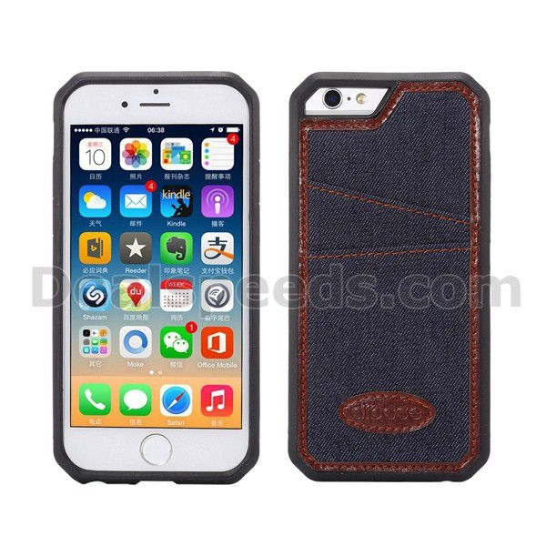 Lagging With Card Slot Leather TPU Stand Case for iPHONE 6S