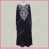RP0049 Real beaded diamonds patterns chiffon party dress black sexy party dress long sleeve muslim prom dresses