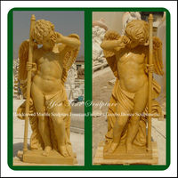 Natural Yellow Boy Marble Carved Angel Statue