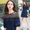 2017 fashion women clothing western style cocktail dress lace top A line flared short sexy new model casual dress