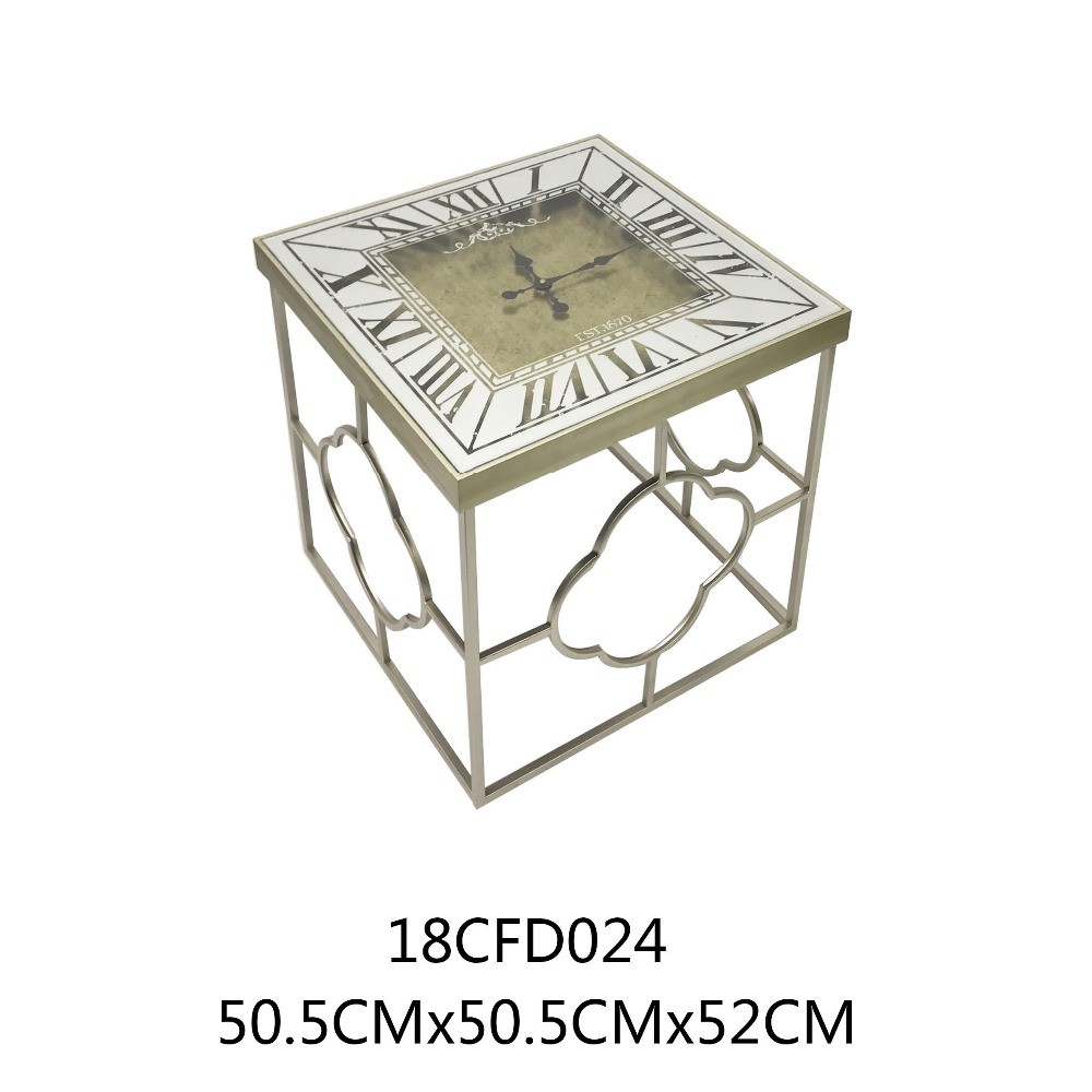 Modern Design Metal Side Table New Style Clock Table Top Antique Console  Table Glass For Living Room