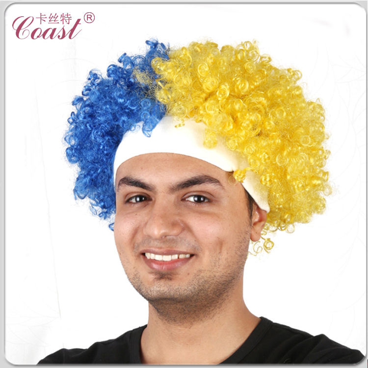 cheap promotion custom color team sports football fans afro wig with headband