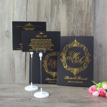Royal Black Hot Stamping Booklet Hard Paper Board Wedding Invitation With Pocket