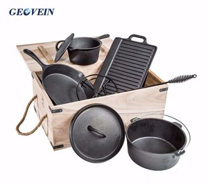 Wooden carton camping kitchen ware cooking cast iron 7pc cookware set