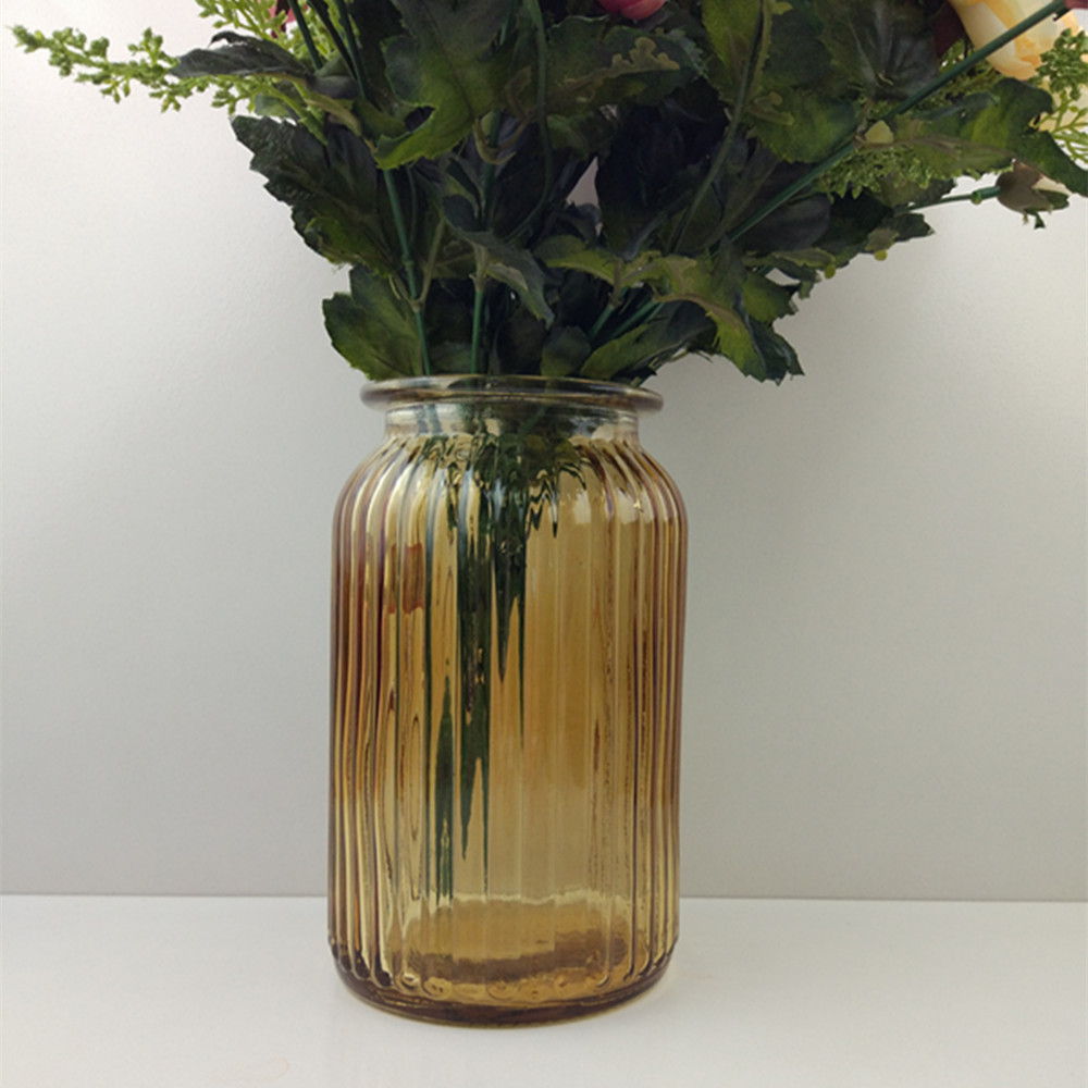 brown glass vase with Vertical stripe for decoration