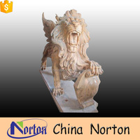 sunset red marble sculpture outdoor lion statue for sale NTMS-741X