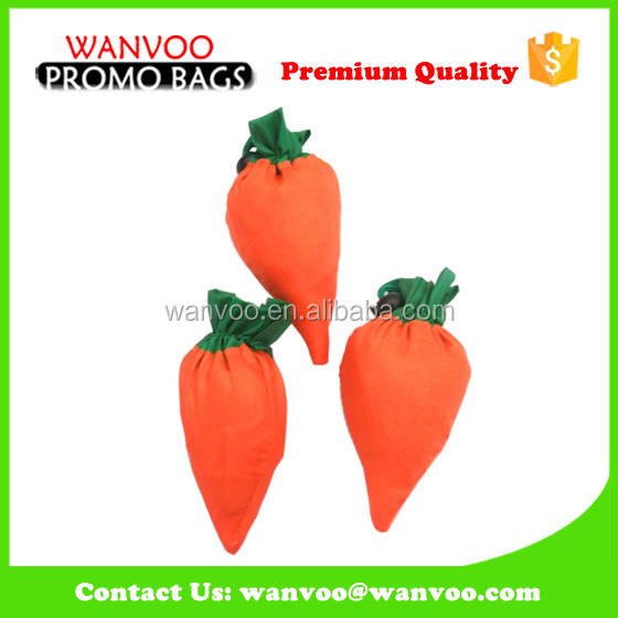 Carrot Shape Foldable Nylon Shopping Bag for Packing with big Volume