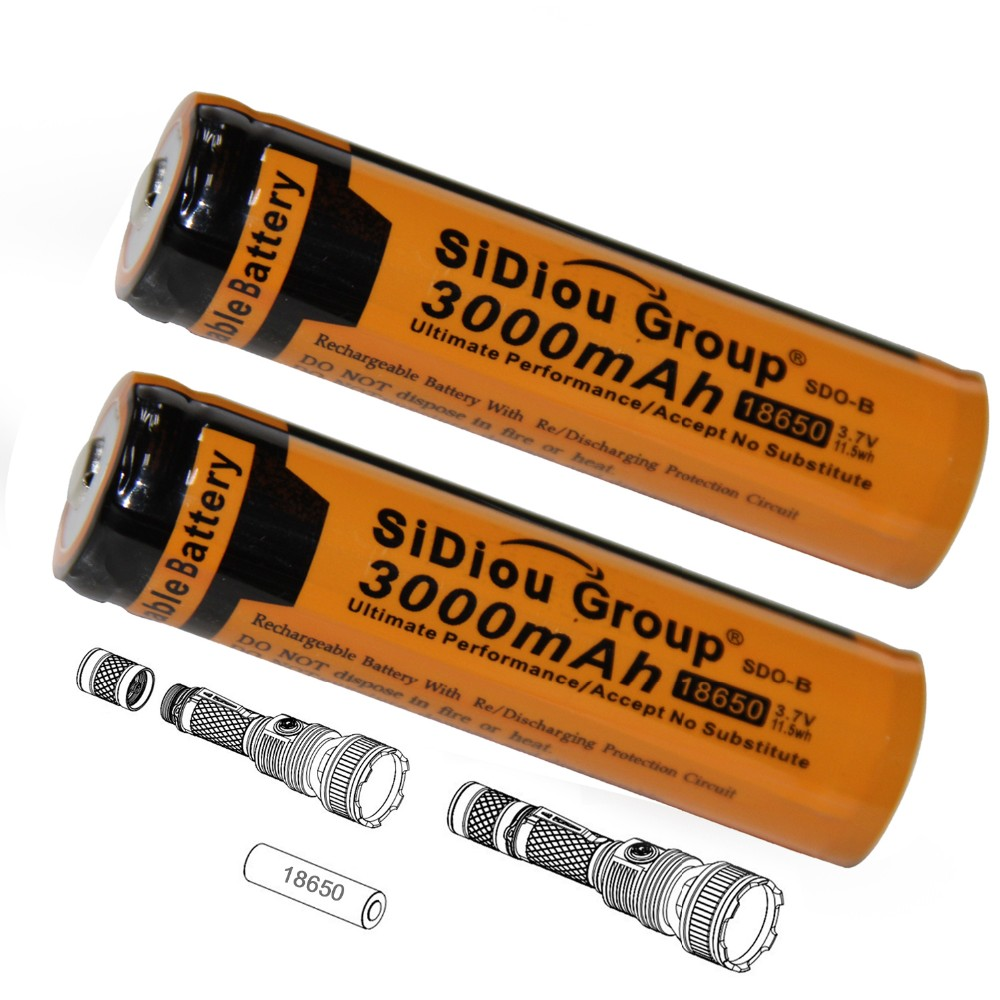 Sidiou Group Powerful 18650 Lithium Ion Battery 3.7V 3000mAh Rechargeable Battery for LED flashlight torch (A Set of 2 Pieces)
