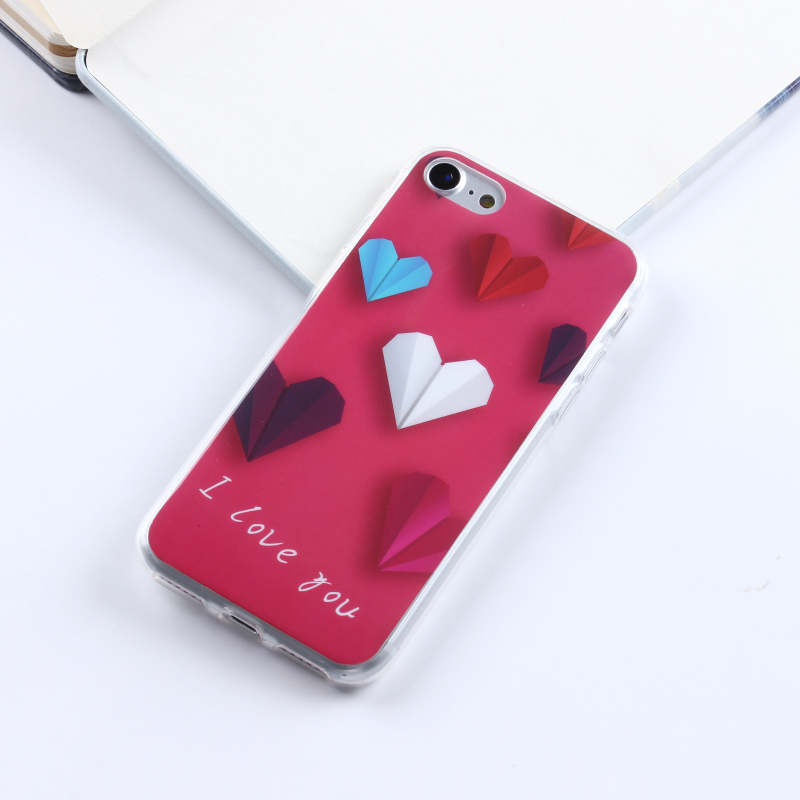 ODM OEM Customized Red Heart Cell Mobile Smart Phone Common IMD Case For Iphone I Phone 7 Cover