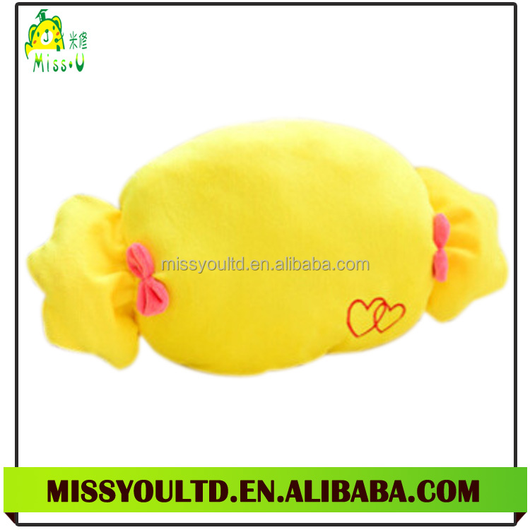 New Design Different Shapes Stuffed Yellow Candy Foam Particle Cotton Throw Pillow Wholesale