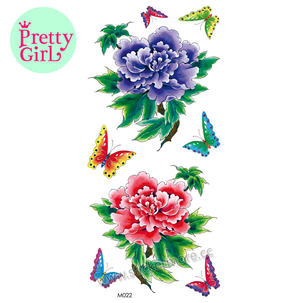 beautiful and colorful flower tatto flash sex products temporary tattoos M022