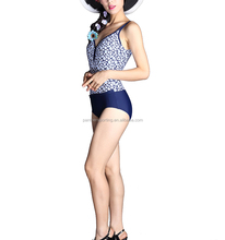 Stretch - Mesh Layer Sunblock Pattern High Cut Sex Women Swimming Wear