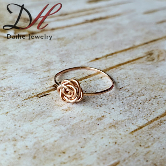 simple beautiful and perfect for stacking rose shape ring rose gold 14k