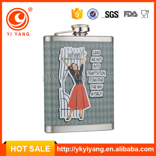male female sex picture water transfer printing logo liquor hip flask,stainless steel