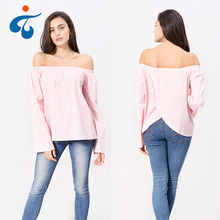 Designer hot selling new fashion off shoulder ladies cotton spandex beautiful blouses for women