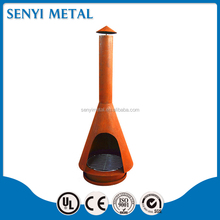 OEM corten steel fire pit with chimney for patio heating