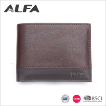 Alfa Cheap Price Custom Your Own Design 3 Fold Men Wallet Genuine Leather With Packaging Box