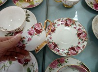 Rose Teacup and Saucer Set Bone China tea cups sets for England afternoon tea ceramic coffee tea cup sets with saucer