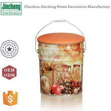 Christmas gift packing round tin bucket storage metal ottoman with leather cover