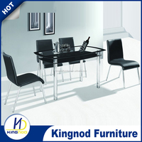 Modern room furniture Square 8mm Thick Tempered glass dining table with 4 chairs