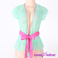 Low MOQ Green Wild Orchid Ruffled Open Front Hot Transparent Girls Sexy Nightwear