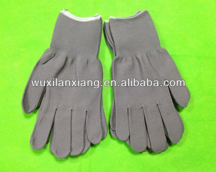 15 gauge Grey nylon and spandex knitted seamless glove liner