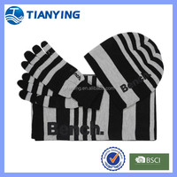 striped custom mens winter knitted scarves hats and gloves