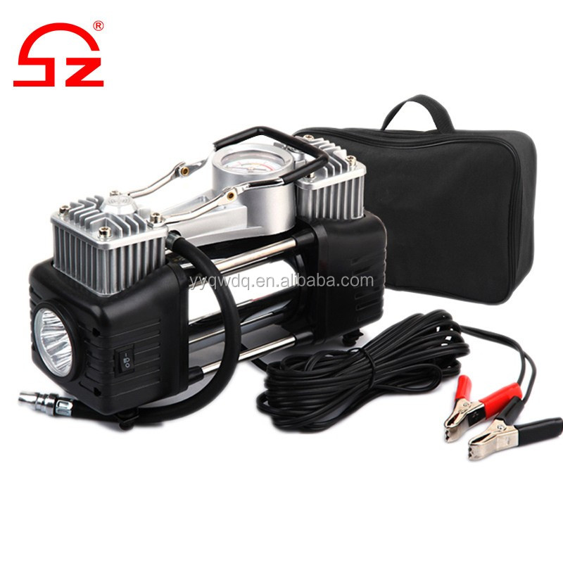 Heavy duty double cylinder portable 12 volt car air compressor with LED light