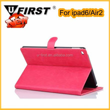 Unbreakable protective case for ipad 6 , anti-shock PU leather stand case for ipad Air2