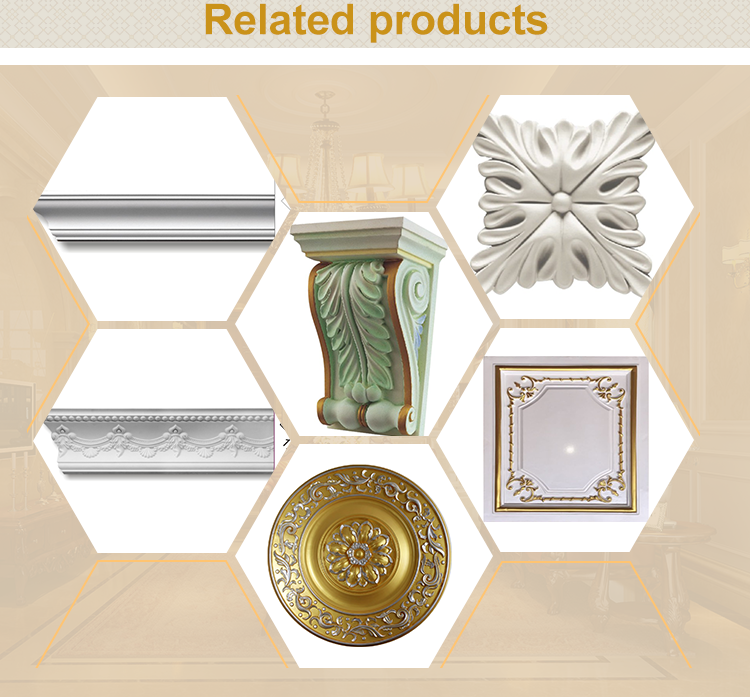 polyurethane decorative material crown moulding types of ceiling cornices
