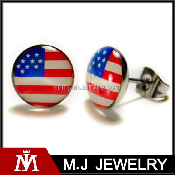 American flag earrings, stainless steel post earrings 10mm patriotic stud pair jewelry