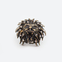 Antique Gold Lion Head Animal Ring