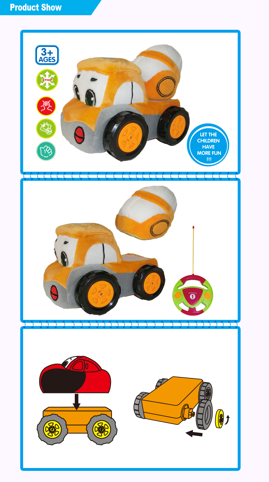 Kids play soft plush detachable engineering cars 2CH rc cartoon engineering cars Toy