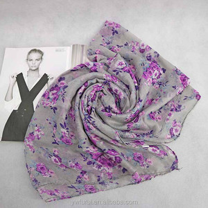 Multi Color Printed Scarf Long Shawls Floral Viscose Hijab Can Choose Color Mix Design
