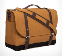 Custom waxed canvas mens laptop messenger bags with leather trim