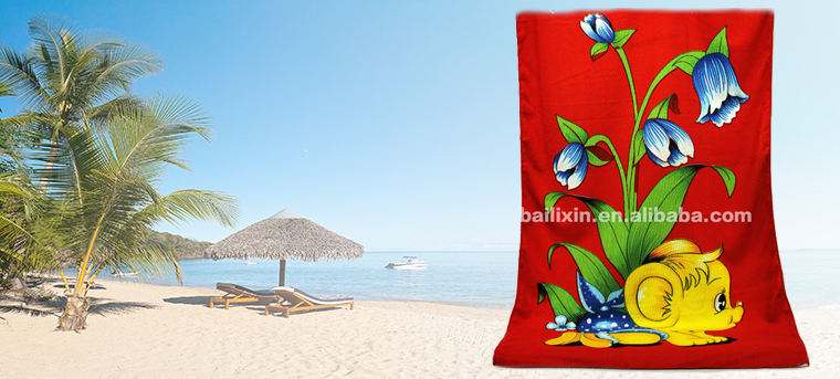 Beautiful flowers printed microfiber fringe beach towel with elastic for travel