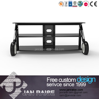 Low price tempered glass outdoor tv stand /tv table