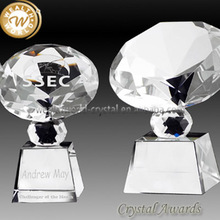 diamond shape crystal trophy and award with base