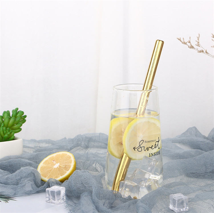 12mm Food grade stainless steel bubble tea straws Inclined mouth