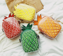 sex girls photos 2017 new personality female bag pineapple messen Small Shoulder Bag pineapple Pattern handbags with chain