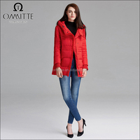 Latest Design 100% Down Feather Long Sleeve Hooded Collar Red Woman Winter Jacket Imported From China