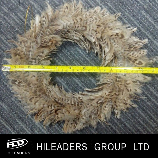 FH429 Decorative Ringneck Pheasant Circular Feather Wreath