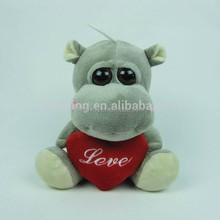 15cm custom plush valentine animal plush toys grey hippo with big eyes