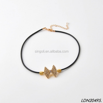 Fashion Leather Bow Choker Crystal Necklace