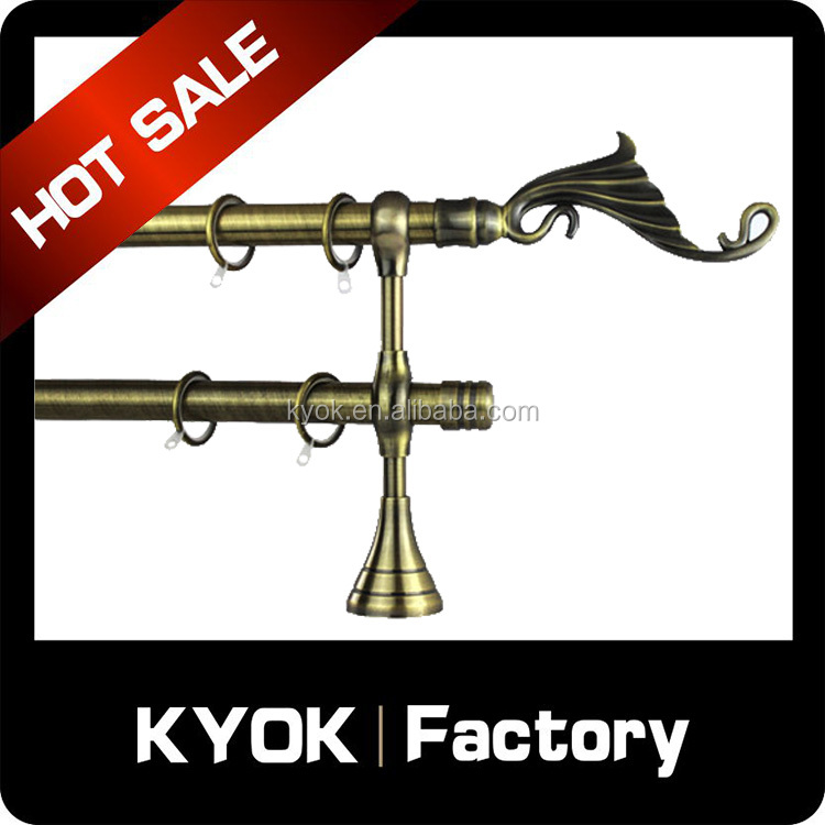 KYOK Chromed curtain rod accessories ,double curtain rod brackets,curtains designs arts and craft finial