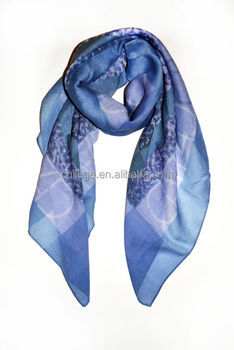 cashmere and modal digital printed square scarf